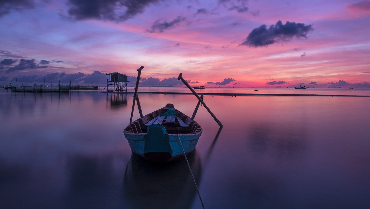 boat, sea, sunrise