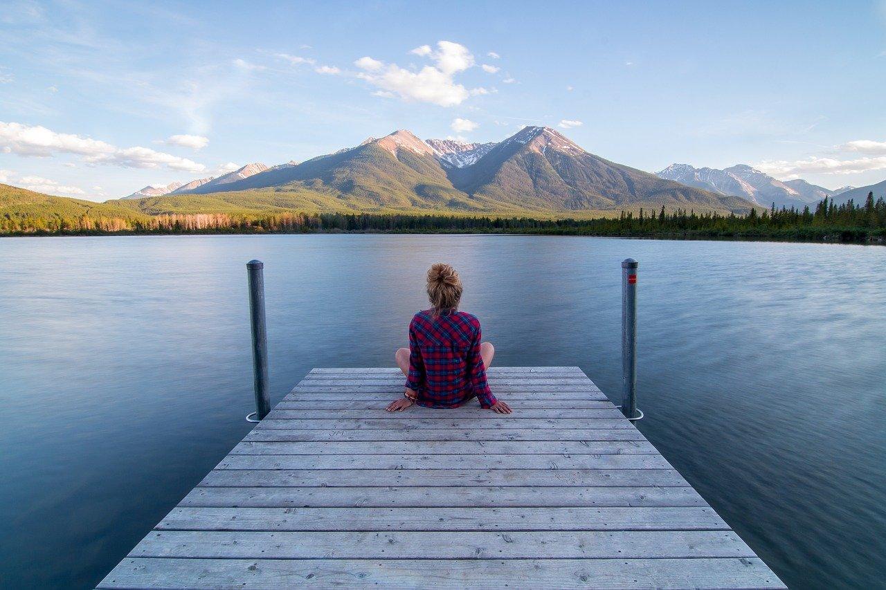 jetty, woman, sitting