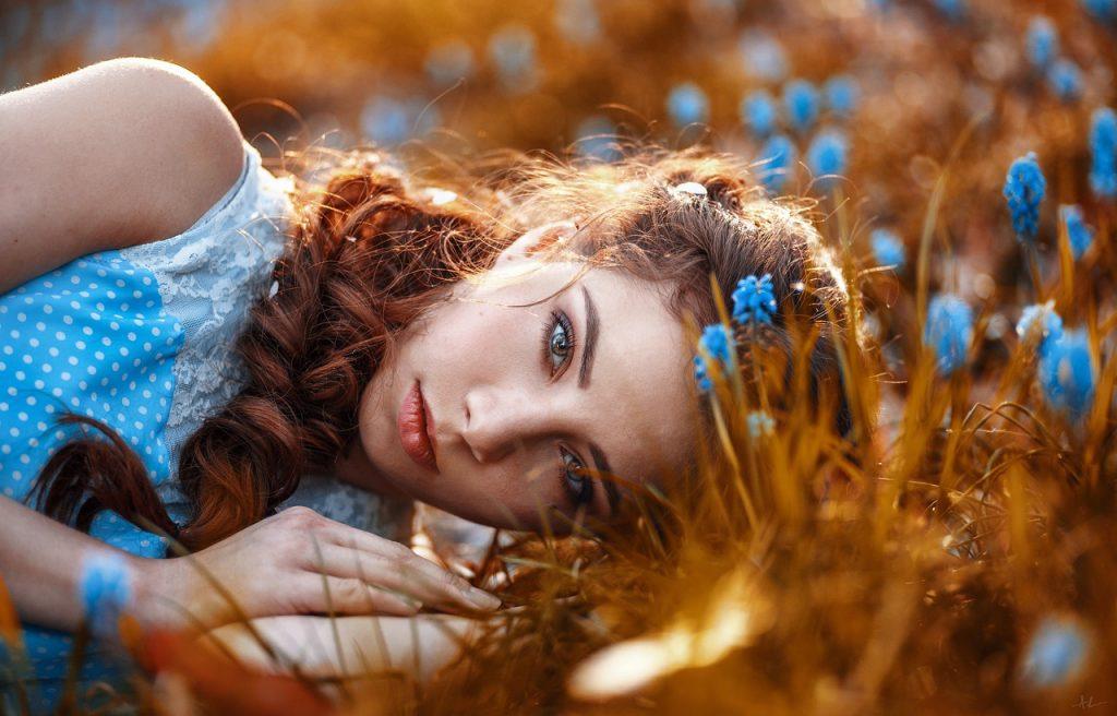 summer, flower, hair